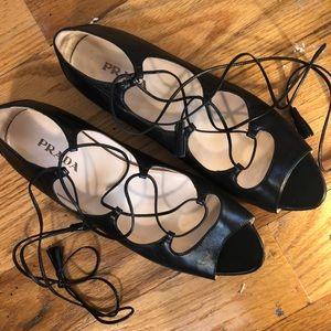 PRADA Lace Up Black Ballet Sandal Flats w Peep Toe